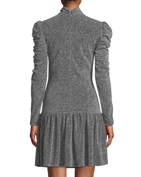 Ruched Long-Sleeve Metallic Jersey Dress
