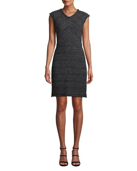 Stretch Cotton Blend Tweed Sheath Dress, Black Pattern