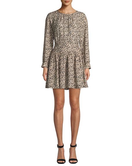 Long-Sleeve Silk Leopard-Print Short Dress