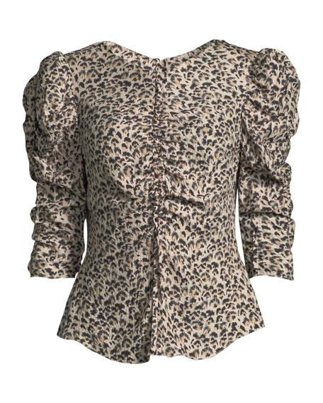 75e19e0a894814 Rebecca Taylor Ruched Puff-Sleeve Leopard-Print Top