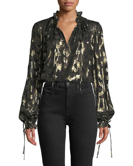 Jenny Long-Sleeve Metallic Silk Chiffon Top