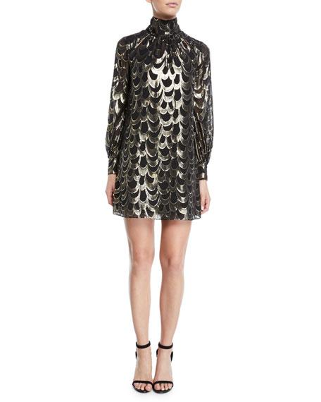 Milly Dresses SHERIE LONG-SLEEVE METALLIC SILK CHIFFON DRESS