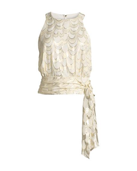 Lauren Metallic Silk Chiffon Tie-Hem Top