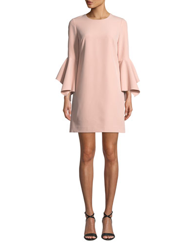 Rachel Italian Cady Bell-Sleeve Dress