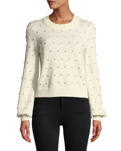 Pearly Beaded Wool Pullover Sweater