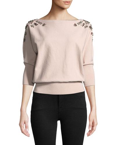 Jewel Embellished Dolman Sweater