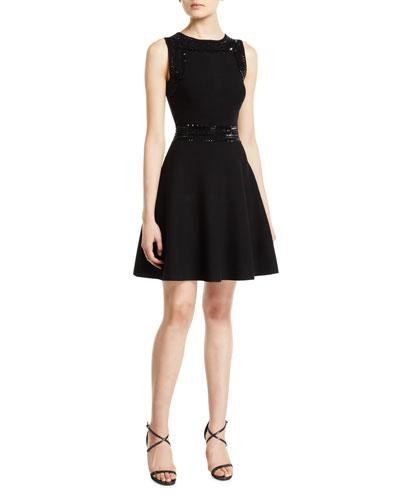 Jewel-Neck Sleeveless Embellished Fit-and-Flare Mini Dress