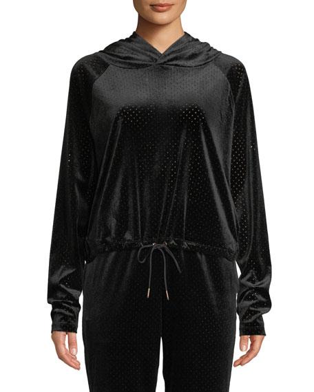 Onzie Velour Mesh Pullover Hoodie with Drawstring Hem, BLACK