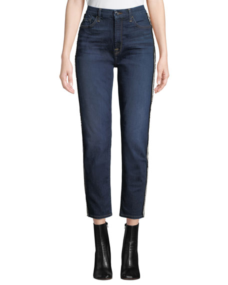 Crystal-Stripe Crop Straight-Leg Jeans