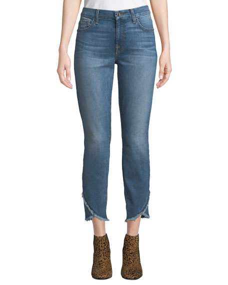 JEN7 BY 7 FOR ALL MANKIND MID-RISE ANKLE SKINNY JEANS W/ SCALLOP HEM