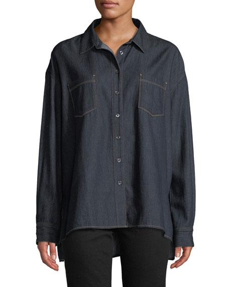 3X1 Joni Button-Front Denim Shirt in Dark Denim