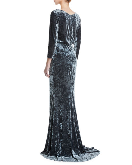 0f86288e843 Badgley Mischka Collection Long-Sleeve Blouson-Top Beaded Crushed ...