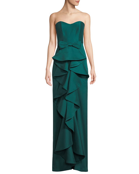 Badgley Mischka Collection Strapless Column Gown w/ Ruffle