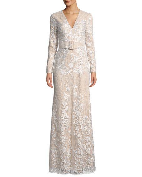 Badgley Mischka Collection Embroidered Long-Sleeve Belted Gown