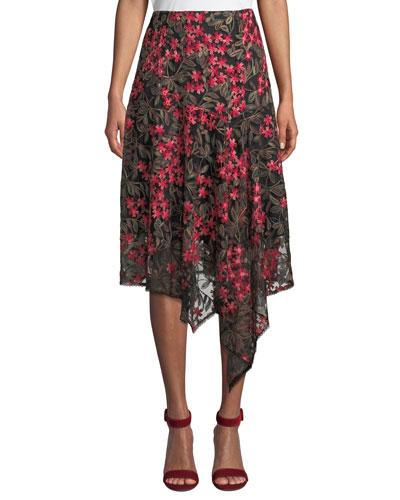 First Bet Floral Skirt w/ Asymmetric Hem