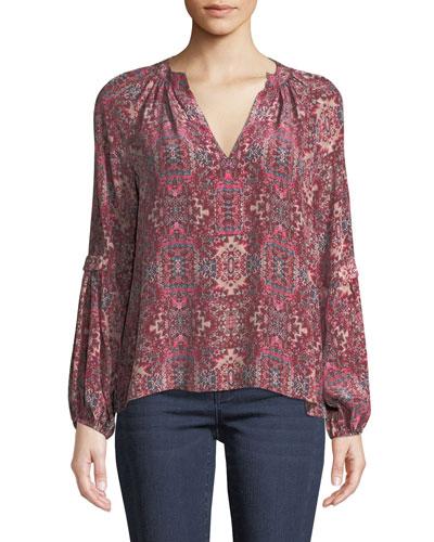 Hideout Long-Sleeve Top in Silk