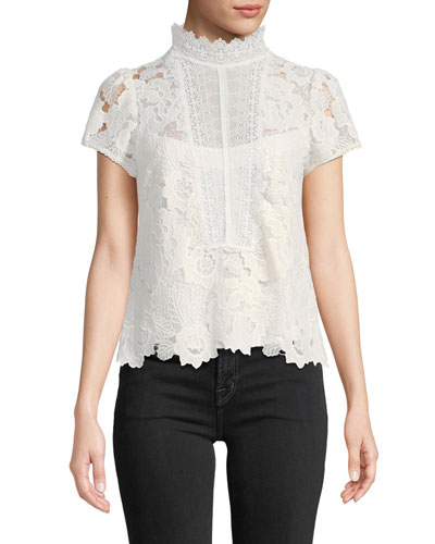 Flower Lace Short-Sleeve Top