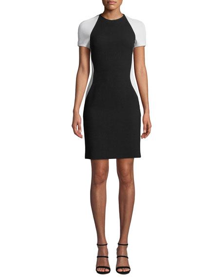NK32 NAEEM KHAN Colorblock Short-Sleeve Cocktail Dress in Black/White
