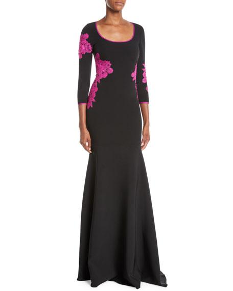 NK32 NAEEM KHAN Scoop-Neck Gown W/ Floor Lace in Black/Pink
