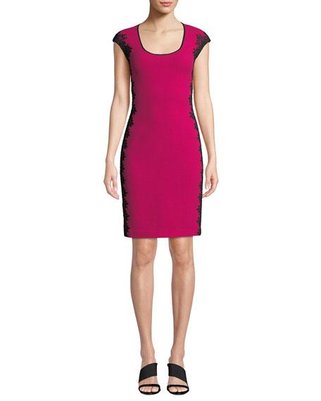 NK32 NAEEM KHAN Scoop-Neck Cocktail Dress W/ Lace Sides in Pink/Black