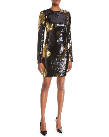 NK32 NAEEM KHAN Long-Sleeve Sequin Mini Dress in Black/Gold