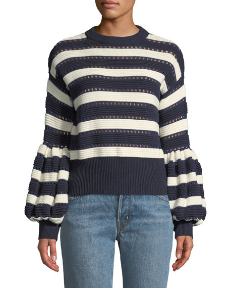 836050fbb479 Self-Portrait Striped Balloon-Sleeve Cropped Sweater