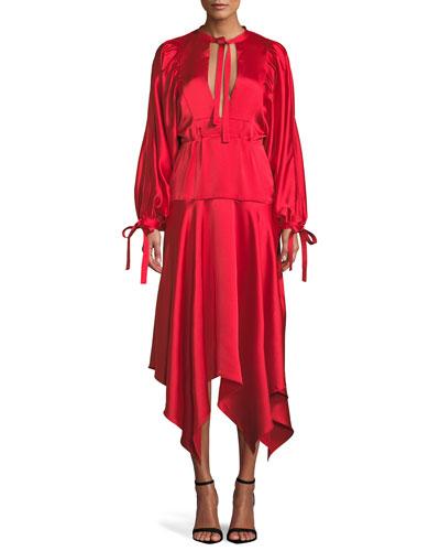 Plunging Satin Handkerchief Midi Dress
