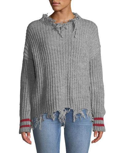 Destroyed Pullover Sweater w/ Striped Cuffs