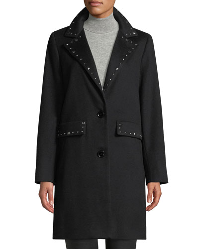 Studded Two-Button Wool Coat