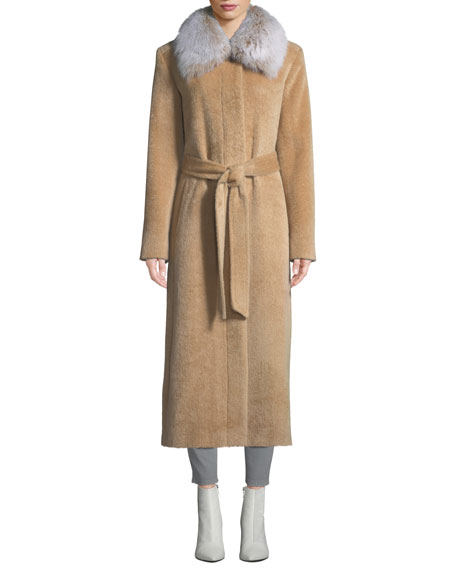 Sofia Cashmere Long Fur-Collar Belted Coat