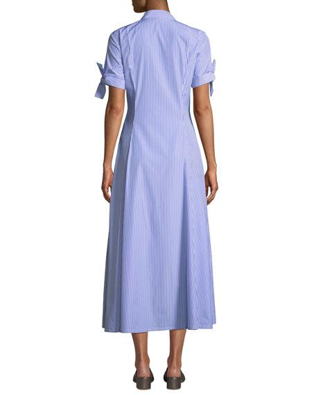 Dalton Long Striped Tie-Sleeve Cotton Shirtdress