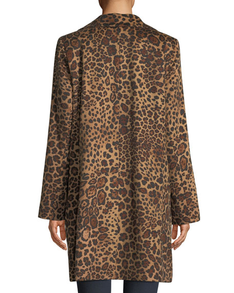 Leopard-Print Button-Down Coat