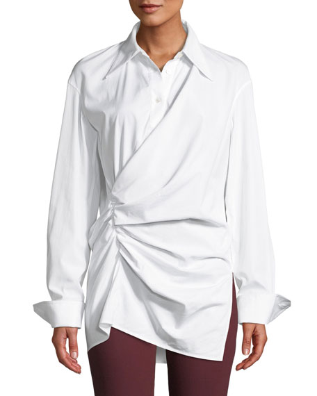 Draped Button-Front Cotton Shirt