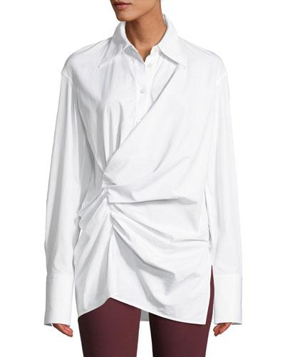 Draped Button-Front Cotton Shirt