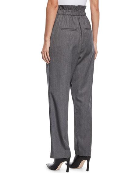 Pleated Gabardine Wool Pull-On Pants