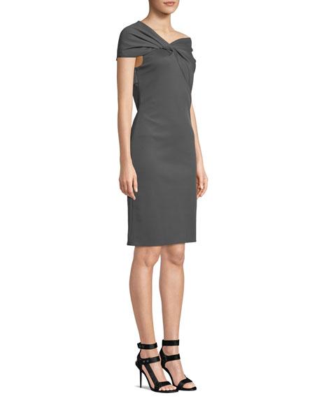 Twist-Front Asymmetric Cap-Sleeve Dress