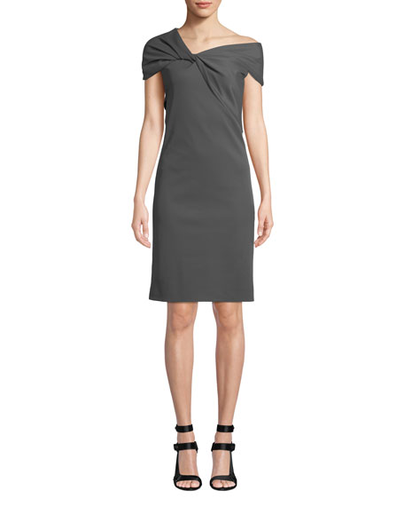 Twist-Front Asymmetric Cap-Sleeve Dress, Carbon
