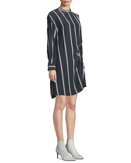 Jacklin Striped Long-Sleeve Draped Silk Shirtdress