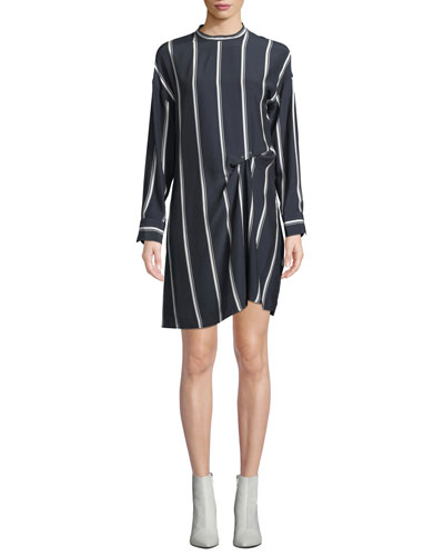 Jacklin Striped Long-Sleeve Draped Silk Shirtdress