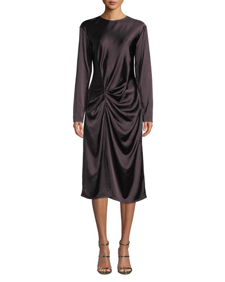 Draped Long-Sleeve Twill Midi Dress