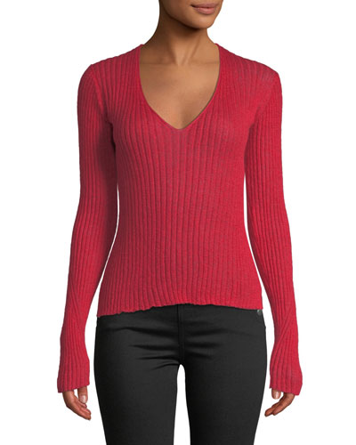 Donna Ribbed Mohair V-Neck Sweater