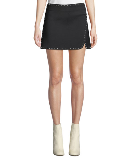 Studded Side-Split Mini Skirt