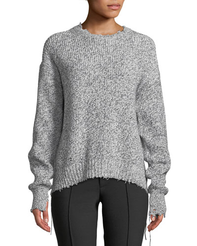 Distressed Cotton-Blend Crewneck Sweater