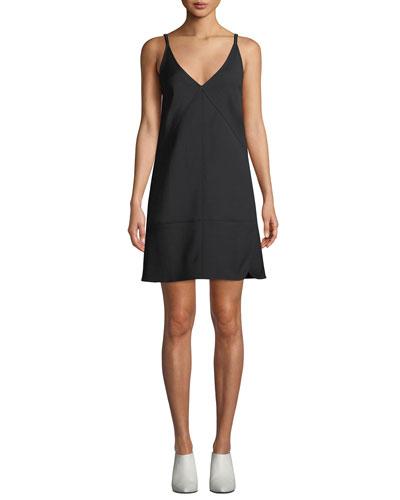 V-Neck Sleeveless Nylon Mini Dress
