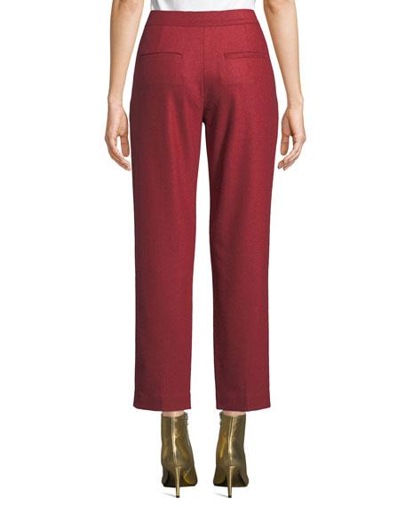 Poppy Straight-Leg Cropped Wool Pants