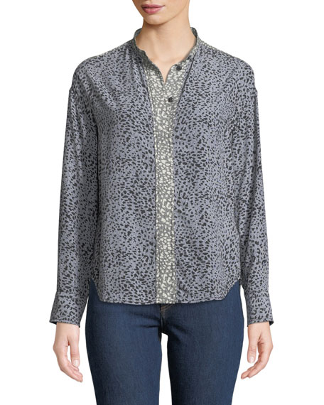 Rag & Bone Christie Long-Sleeve Cheetah Animal-Print Silk