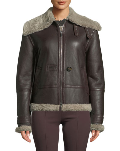 Aviator Leather Zip-Front Jacket with Shearling Trim