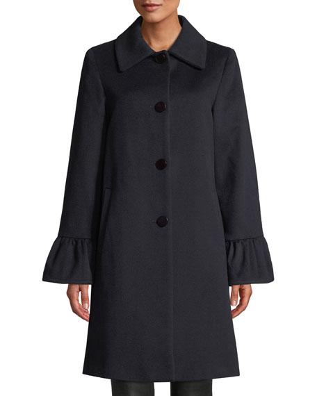 Sofia Cashmere Shirred Bell-Cuff Top Coat