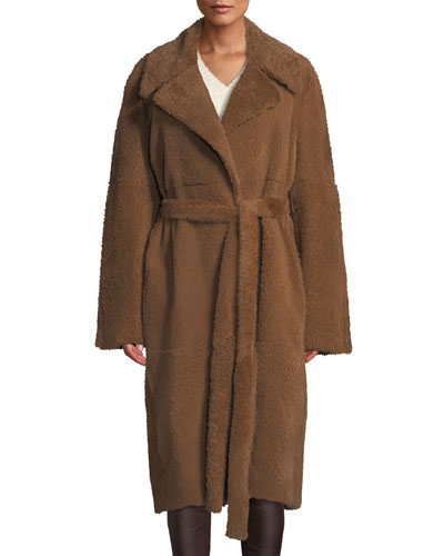 Belted Oversized Shearling Coat