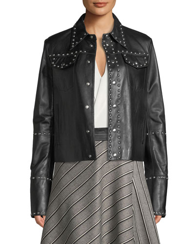 Studded Snap-Front Leather Moto Jacket